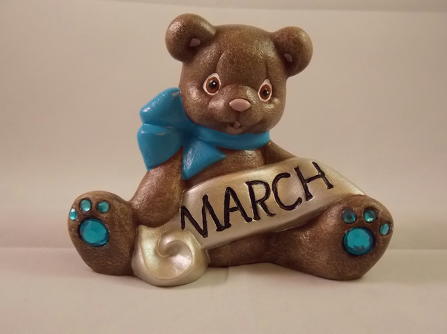 Ceramic Hand Painted Keepsake March Birthstone Bear Animal Figurine Ornament.