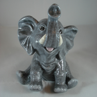 Ceramic Hand Painted Small Grey Elephant Animal Figurine Ornament Decoration.