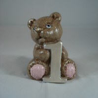 Ceramic Hand Painted Small Brown Bear Number One Animal Figurine Ornament.