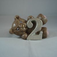 Ceramic Hand Painted Small Brown Bear Two Number Figurine Animal Ornament.