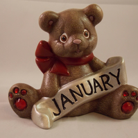 Ceramic Hand Painted January Keepsake Birthstone Bear Animal Figurine Ornament.