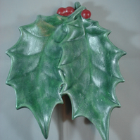 Ceramic Hand Painted Christmas Xmas Holly Berries Table Decoration Ornament Dish