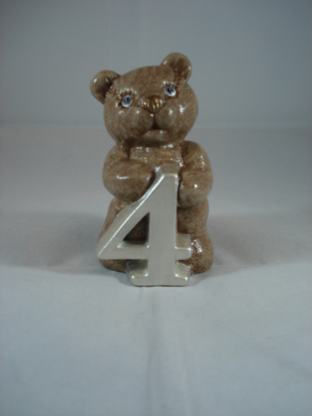 Ceramic Hand Painted Small Brown Bear Number Four Figurine Animal Ornament.