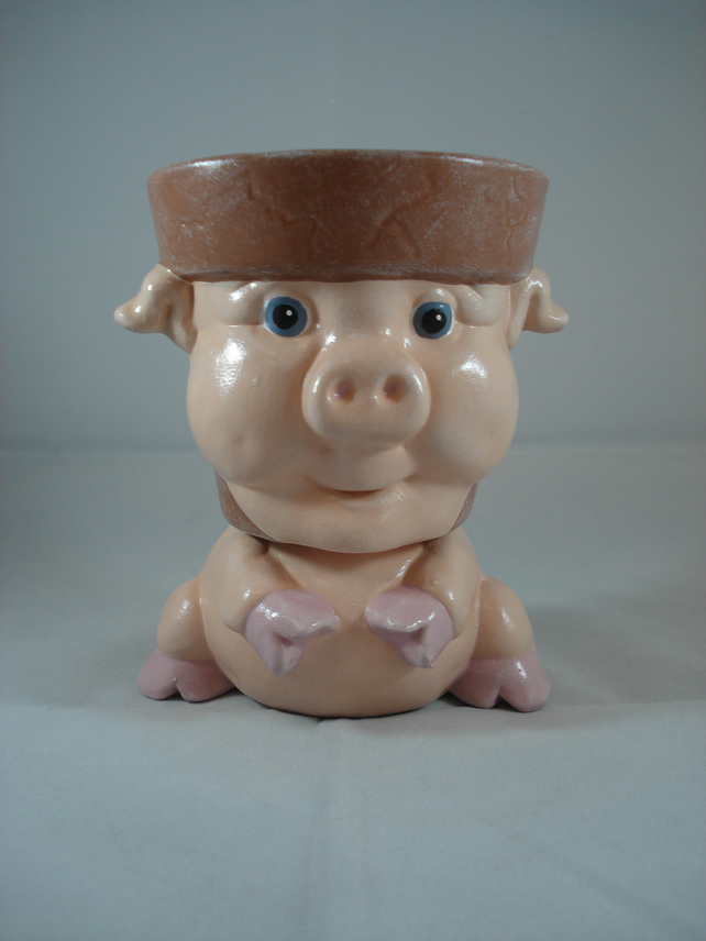 Ceramic Hand Painted Small Pig Animal Garden Flower Herb Plant Pot Candle Holder