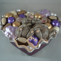 Ceramic Hand Painted Novelty Silver Purple Jewellery Trinket Box Container.