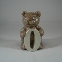 Ceramic Hand Painted Small Brown Bear Zero Number Figurine Animal Ornament.
