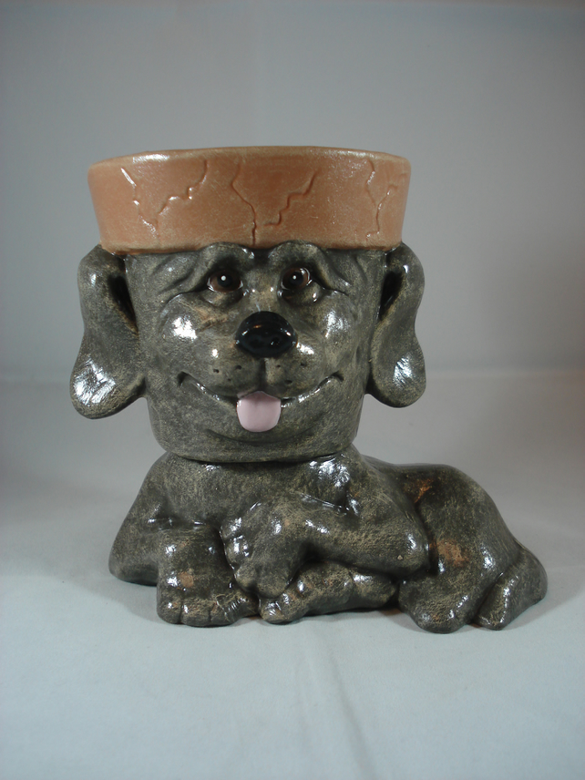 Ceramic Hand Painted Small Brown Dog Animal Flower Herb Plant Pot Candle Holder.