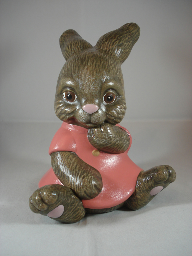Ceramic Hand Painted Cute Brown Bunny Rabbit Girl Animal Figurine Ornament.