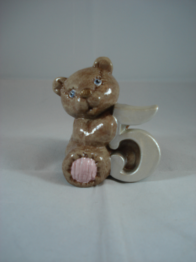 Ceramic Hand Painted Small Brown Bear Number Five Figurine Animal Ornament.