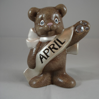 Ceramic Hand Painted April Birthstone Bear Animal Figurine Keepsake Ornament.