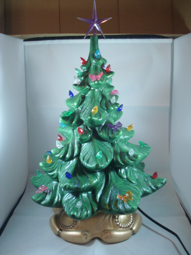 Ceramic Hand Painted Large Green Christmas Xmas Tree LED Table Lamp Decoration.