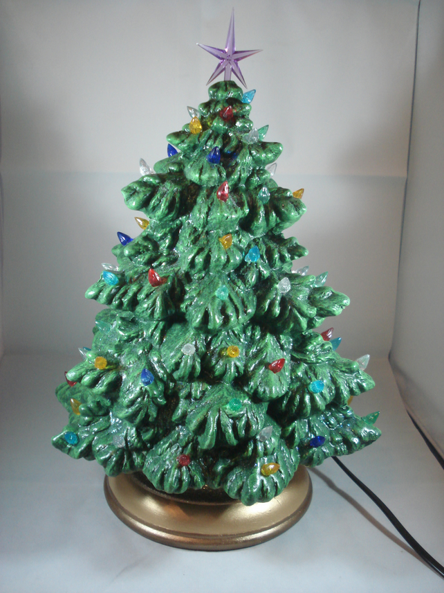 Ceramic Hand Painted Green Glitter Christmas Xmas Tree Led Table Lamp Decoration