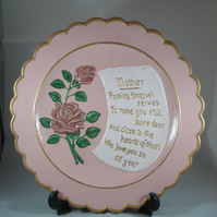 Ceramic Pink Gold Hand Painted Keepsake Decorative MOTHER Mum Verse Plate.