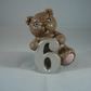 Ceramic Hand Painted Small Bear Animal Figurine Number Six Ornament Decoration.
