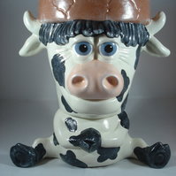 Ceramic Hand Painted Novelty Animal Cow Flower Herb Plant Pot Planter Container.