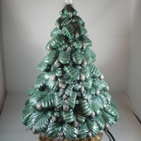 Ceramic Handmade Green Glittery Christmas Xmas Tree G9 LED Table Lamp Decoration