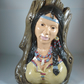 Ceramic Hand Painted Driftwood Indian Squaw Lady Girl Figurine Ornament.