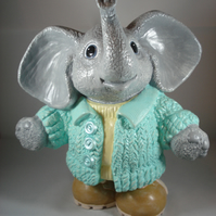 Ceramic Nursery Cute Hand Painted Large Grey Elephant Animal Figurine Money Box.