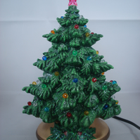 Small Ceramic Handmade Green Xmas Christmas Tree Table Lamp Light Decoration.