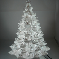 Ceramic White Handmade Xmas Christmas Tree Light Table Lamp Decoration Ornament.
