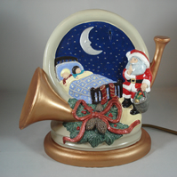 Ceramic Xmas Christmas Handmade LED Table Lamp Light Ornament Decoration.