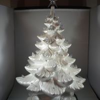 Large White Glittery Ceramic Xmas Christmas Tree Table Lamp Light Decoration.
