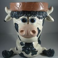 Ceramic Novelty Garden Animal Cow Flower Herb Plant Pot Planter Container.