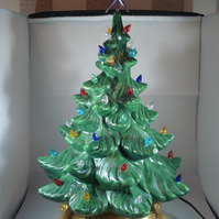 Large Green Ceramic Xmas Christmas Tree Table Lamp Light Ornament Decoration.