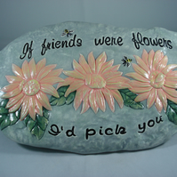 Ceramic Floral Flowers Special Friend Keepsake Wall Plaque Ornament Decoration.