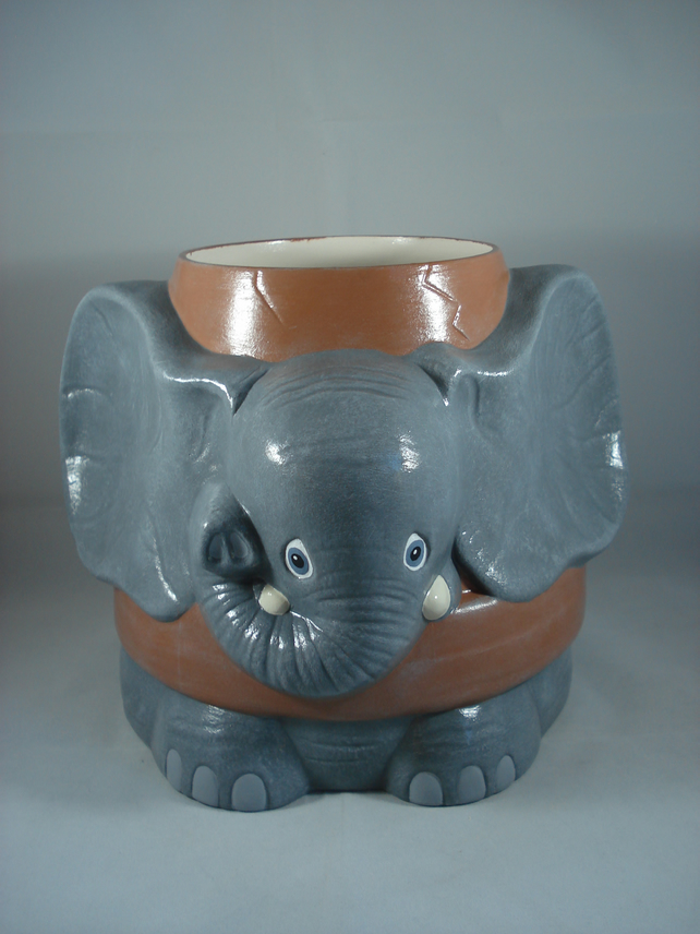 Ceramic Novelty Garden Animal Elephant Flower Herb Plant Pot Planter Container.