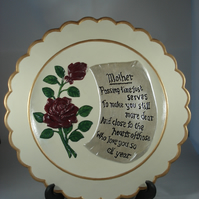 Large Ceramic Keepsake Mum Mother Mummy Flower Rose Verse Decorative Plate.