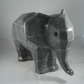 Large Grey Faceted Ceramic Wild Animal Elephant Figurine Ornament Decoration.