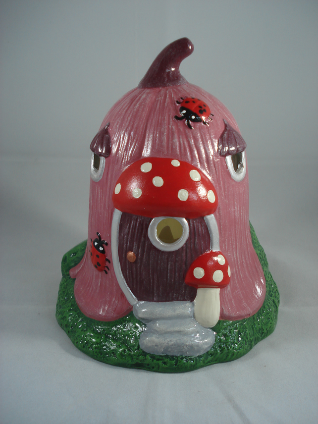 Pink Ceramic Flower Cottage Woodland House Candle Tealight Holder Ornament.