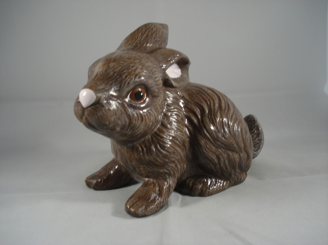 Ceramic Brown Cute Baby Bunny Rabbit Animal Figurine Ornament Decoration.