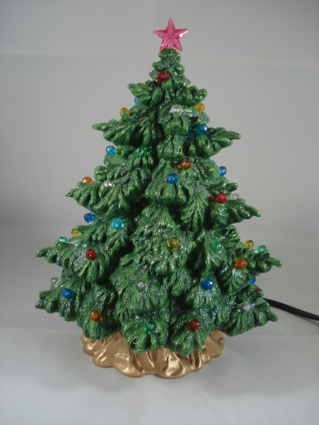 Small Ceramic Hand Painted Green Christmas Xmas Tree G9 LED Table Lamp Ornament.