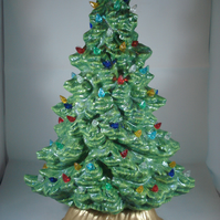 Slim Green Glittery Ceramic Xmas Christmas Tree Table Lamp Ornament Decoration.
