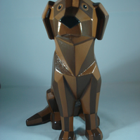 Large Faceted Ceramic Chocolate Brown Animal Dog Figurine Ornament Decoration.