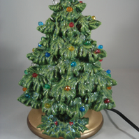 Small Green Ceramic Xmas Christmas Tree Table Lamp Light Ornament Decoration.