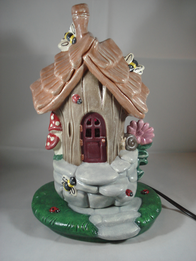 Ceramic Woodland Fairy Cottage House Table Lamp LED Light Ornament Decoration.