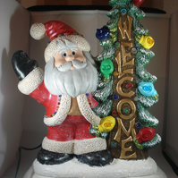 Large Ceramic Xmas Christmas Tree Santa Claus Table Lamp Ornament Decoration.
