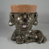 Small Ceramic Novelty Brown Dog Puppy Garden Flower Herb Plant Pot Candle Holder