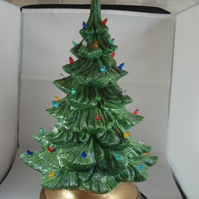 Large Green Ceramic Xmas Christmas Tree G9 LED Table Lamp Ornament Decoration.