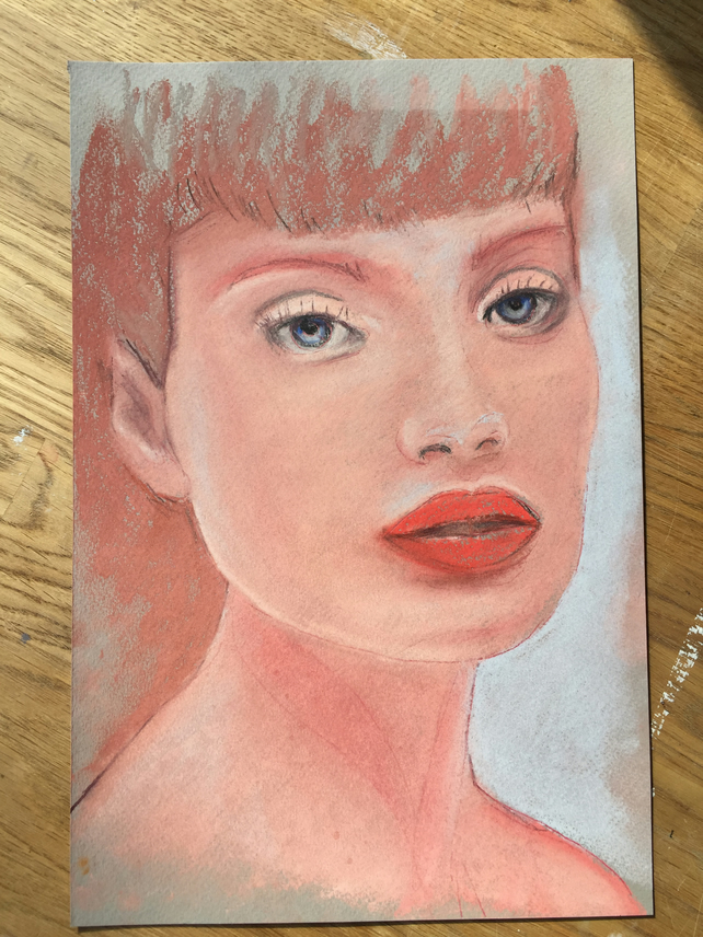 "Original Pastel Painting 8"" x 12"" portrait daily painting gift art"
