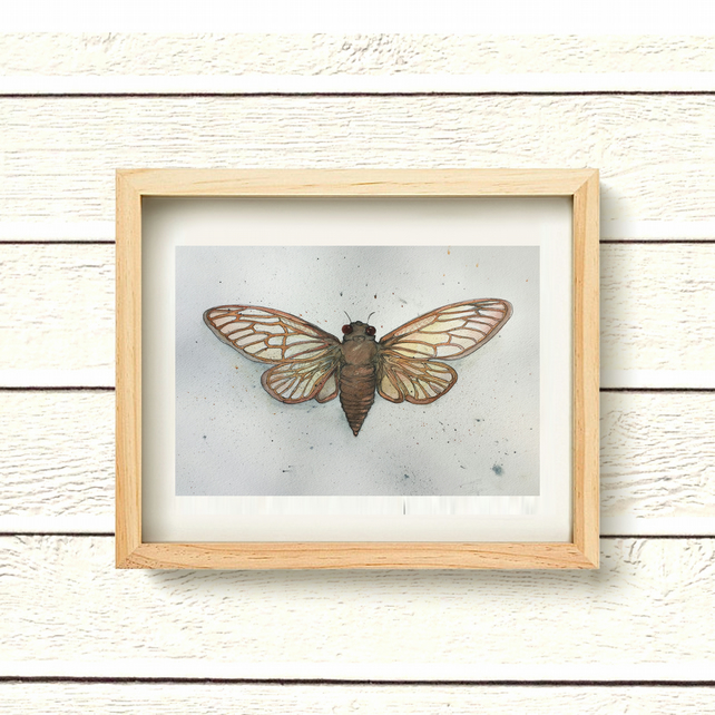 "Original Watercolour Painting moth daily painting gift 10""x14"" art"