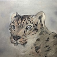"Fine Art Original Oil Portrait ""Snow"" 10"" x 12"" By JulieDrawn Nature Wild cat"
