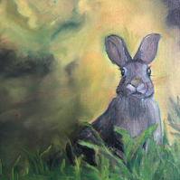 "Original Oil Painting on Panel 8""x 10"" Hare Portrait Animal countryside"