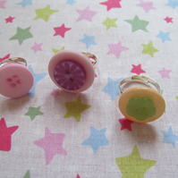 SALE Three Button Rings