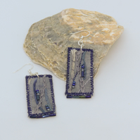 Blue-grey eco-dyed textile earrings