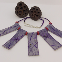Purple eco-dyed and beaded necklace