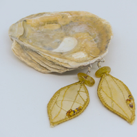 Yellow leaf textile earrings